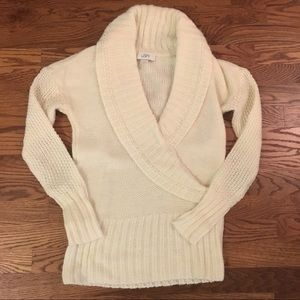 LOFT Ivory Faux Wrap Sweater // Small
